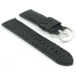 DASSARI Outlaw Black Python Genuine Snake Skin panerai Style Watch Band size 24mm