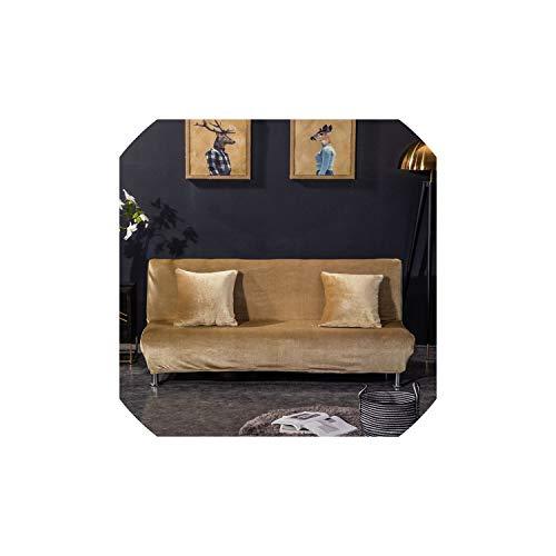Black-Sky Solid Color Armless Sofa-Abdeckung Stretch Schlafsofa Slipcover Schutz elastischer Spandex Moderne Folding Couch Sofa Schild Futon Cover, Khaki, Breite 155 bis 185cm (Khaki Cover Futon)
