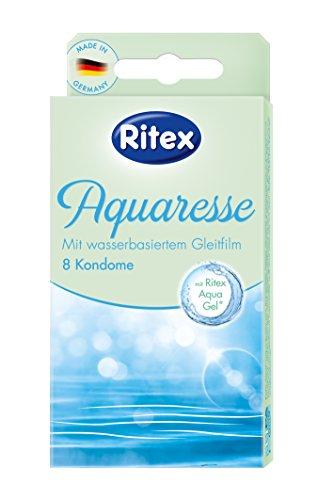 Ritex Aquaresse Kondome, 8 Stück, mit innovativem Gleitfilm auf Wasserbasis, Spürbar natürlicher, mit der Ritex Perfect Form für extra leichtes Abrollen, Made in Germany, Breite (flachliegend) 55 mm