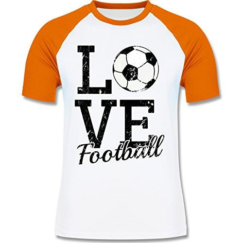 Fußball - Love Football - zweifarbiges Baseballshirt für Männer Weiß/Orange