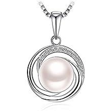 Collana, Argento 925, J.Rosée con Perla di Agua Dulce e 5A Zirconi per donna Gioielli Ciondolo Buon Regalo per Festa della Mamma con Confezione