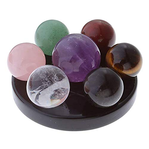 AllRing 7 Chakra Edelstein Kugel Kugel Set auf schwarzem Obsidian (Herzchakra) Hexagramm Ständer Reiki Heilkristalle Authentische stressfreie Entspannung Fengshui Sieben-Sterne-Vorspeisenplatte