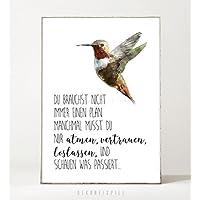 Kunstdruck / Poster ZUVERSICHT -ungerahmt- Typografie, Kolibri, Spruch, Leben, Motivation, Vogel