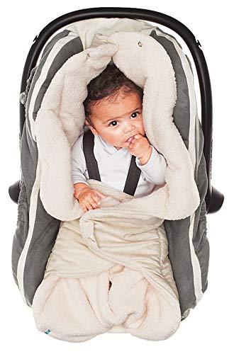 Wallaboo Einschlagdecke für Babyschale, Autokindersitz, für Kinderwagen, Buggy, Babybett, Schönen Blumenform, Veloursleder und fleece, 85 x 85 cm, 0 - 12 Monaten, Farbe: Ecru (5-punkt-gurt Autositz)