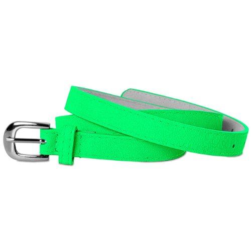 CASPAR klassisch schmaler Damen Gürtel / Hüftgürtel mit Silberschnalle - viele Farben - GU262, Länge:100 [für Hüftumfang 99-106];Farbe:neon grün