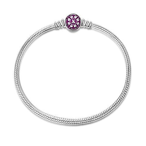 NinaQueen Charms Bracelet pour femme argent 925 Pourpre compatible avec pandora charms bijoux Cadeau Saint Valentin Fete des Meres Anniversaire Cadeaux Noel Maman Mere Fille 19cm