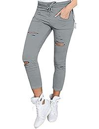 Ularma Damen Cropped Jeans High-Waist Stretch Ripped Loch Bleistift Modern Lässige  Hosen b2a6425307
