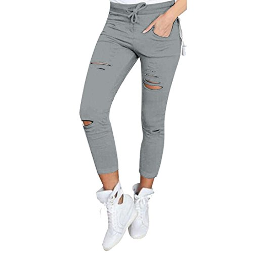 Ularma Damen Cropped Jeans High-Waist Stretch Ripped Loch Bleistift Modern Lässige Hosen (L, Grau) (Cropped-stretch-leggings)