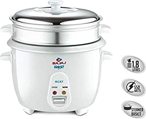 Bajaj RCX 7 1.8-Litre 550-Watt Rice Cooker,Multi-colour