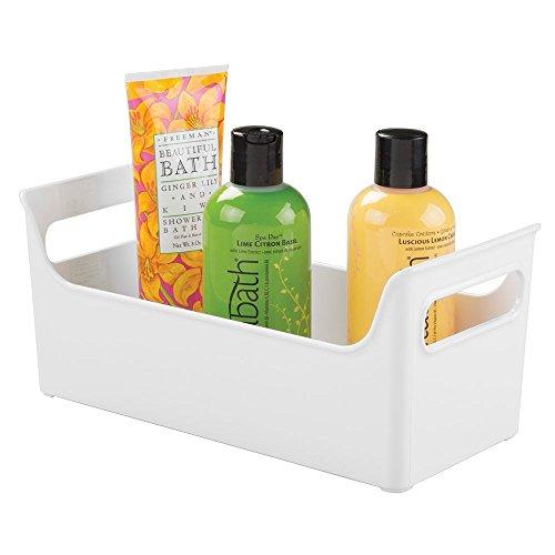 mDesign - Organizador del tocador del cuarto de baño, para productos de belleza y para el cuidado de la salud, toallas - Blanco