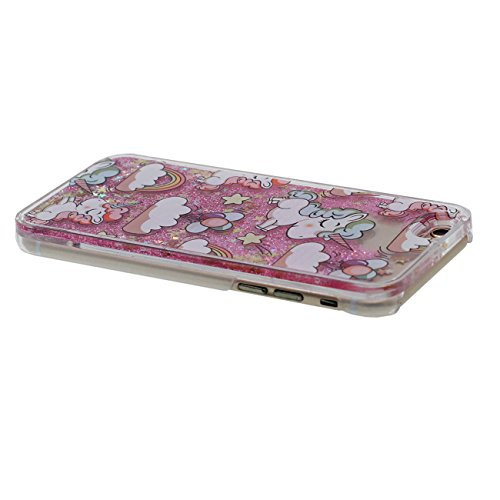 Dur Etui Coque pour iPhone 6 / 6S 4.7 inch, Transparent iPhone 6S Case, Charmant Cartoon Cheval Sables mouvants Écoulement Liquide Éclat étoiles Coque avec 1 Métal pendentif rose