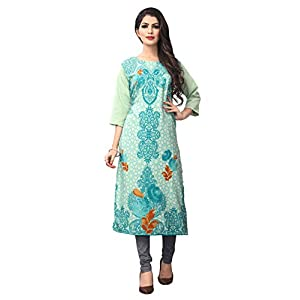 1 Stop Fashion Women's Light Green Heavy Crepe Knee Long W Style Kurtas/Kurti