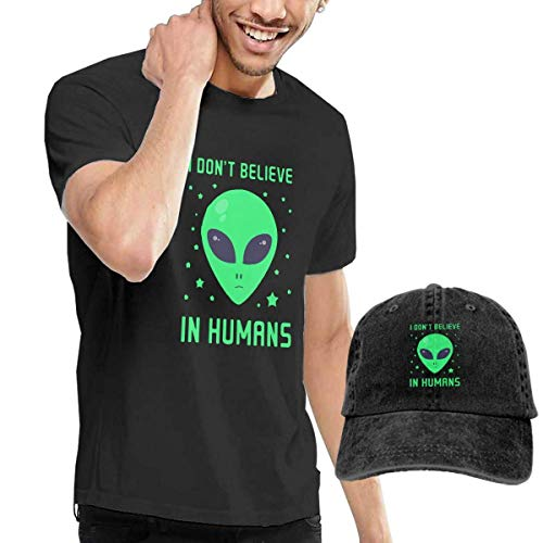 fghjfgdjhfd Herren T-Shirt und Kappe Schwarz,Humans Don't Exist Alien Mens Funny T-Shirt and Baseball Cap Set, Short Sleeve T Shirt with Hat for Men Graphic Combination -
