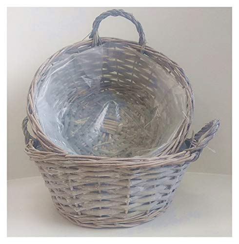 F&G Supplies Set aus 2 stilvollen grauen Weiden-Pflanzgefäßen mit transparentem Kunststoffeinsatz - ideal zum Bepflanzen von Topfpourri, Schlüsseln etc. - Willow Farm