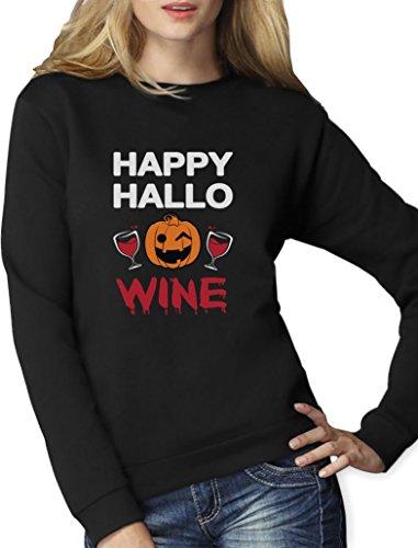 Happy Hallo-Wine Halloween Geschenk für Wein Fans Frauen Sweatshirt XX-Large Schwarz (Die Besten Halloween Kostüme Ideen Immer)