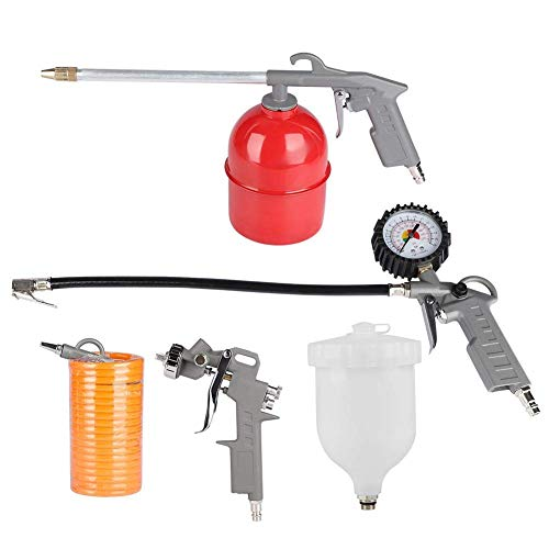 CWeep 5pcs Cleaning Gun Kit, Air Compressor Spray Gun Tire Inflator Air Blow Gun Air Cleaning Gun Air Hose for Cleaning and Drying