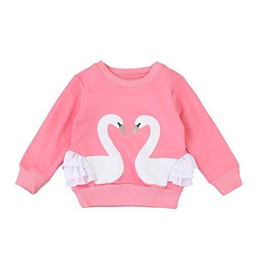 Baby Kinder Mädchen Schwan Drucken Zur Seite fahren Sweatshirt_Hirolan (80cm, Rosa)