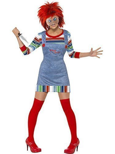 Damen Sexy Chucky Rag Puppe Halloween Film Kostüm Kleid Outfit mit Perücke 8-18 - Rot, 40-42