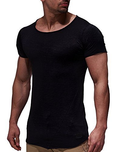 LEIF NELSON Herren T-Shirt Top Sweatshirt Sweater Rundhals Kurzarm-shirt Basic Crew Neck Vintage LN6281 S-XXL; Grš§e M, Schwarz