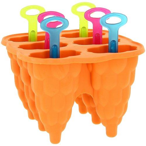 Promobo Pfannenset 6 Backform aus Silikon, für Eis Lutscher Eiskonfekt und Ice Shot, Orange