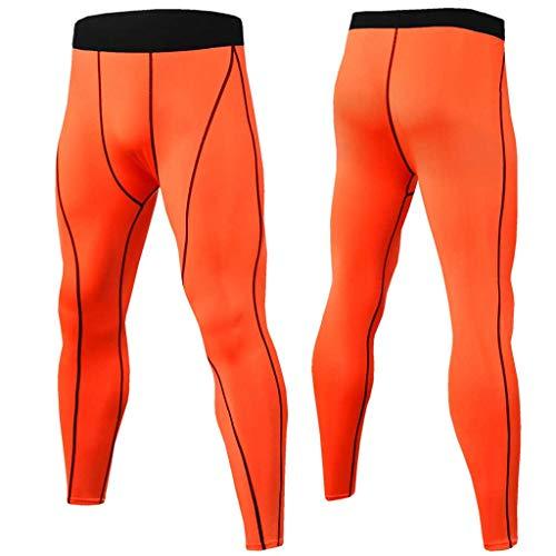 Celucke Sport Leggings Herren Laufhose Lang Kompressionshose für Fitness, Training, Radfahren, Yoga, Wandern, Männer Compression Tights Atmungsaktiv Quick Dry Funktionswäsche (Orange, XXXL)