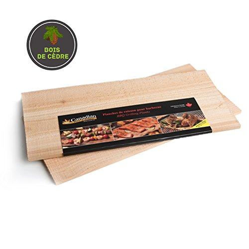 Canadian Pure and Simple Lot de 2 Planches à Fumer Barbecue : Bois de cèdre pour Cuisson/Fumage - 40,5cm x 17,5cm x 1,30cm - (Livraison Gratuite)