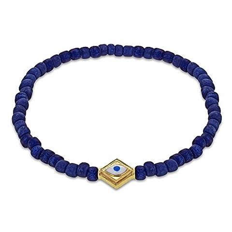 LUIS MORAIS 14ct Yellow Gold Evil Eye Lozenge Beaded Bracelet