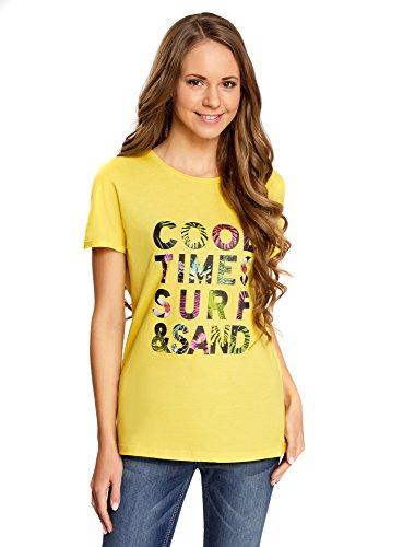 oodji Collection Donna T-Shirt Ampia con Scritta Giallo (5119P)