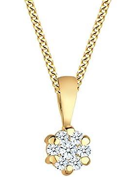 Diamore Damen-Kette mit Anhänger Classic Blumen-Krone 585 Gelbgold Diamant (0,14 ct; SI2) Brillantschliff weiß...