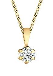 DIAMORE Damen Schmuck Halskette Kette mit Anhänger Klassisch Elegant Glamourös 585er Gelbgold Diamant 0,15 Karat Gold Länge 45 cm