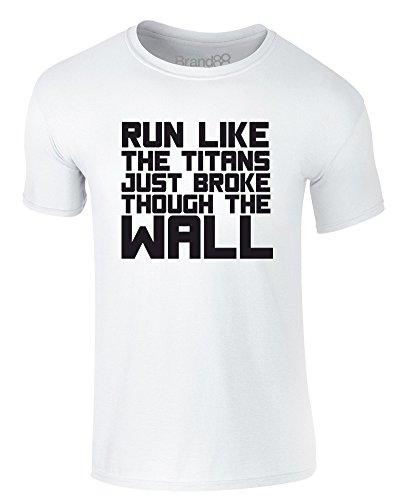 Brand88 - Run Like the Titans..., Erwachsene Gedrucktes T-Shirt Weiß/Schwarz