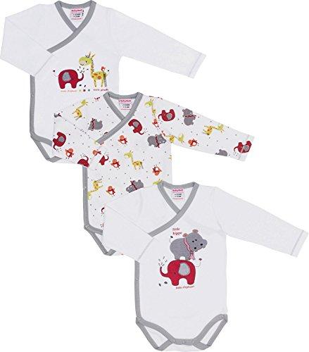 Baby Butt Wickelbody 3er-Pack mit Druckmotiv Interlock-Jersey weiß/grau Größe 44