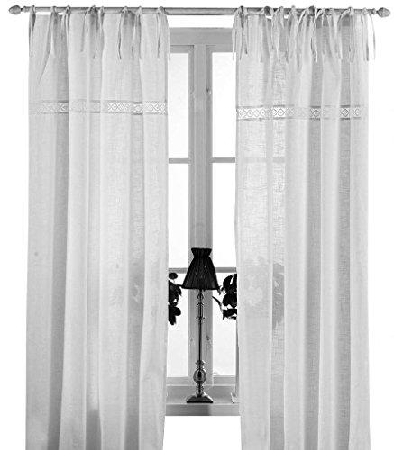 Gardinenschal Vorhang \'San\' 2er Set 120 x 240 cm (BxH) bestickt mit Spitze weiß OFFWHITE Baumwolle Landhaus Shabby French Vintage Retro Antik Nostalgie