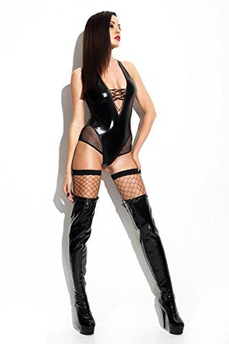 Preisvergleich Produktbild FaS Wetlook-Body Claudia von Demoniq Body Dessous Reizwäsche Teddy, Farbe:Schwarz, Größe:L/XL (38-40)