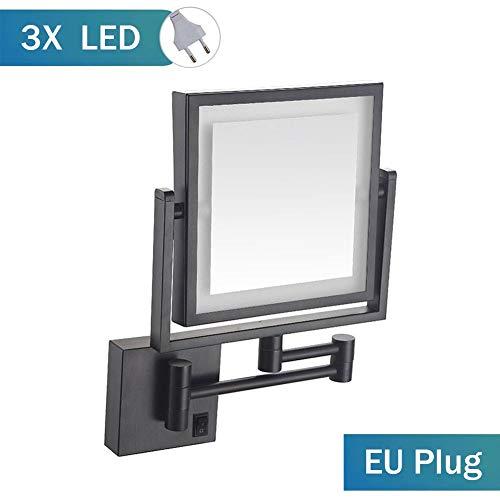 MRJ LED Kosmetikspiegel Beleuchtet Zur Wandmontage 3-fache Vergrößerung Doppelseitig 360°Schwenkbar Faltbar Make-Up-Spiegel Viereckig Wandspiegel EU Plug -