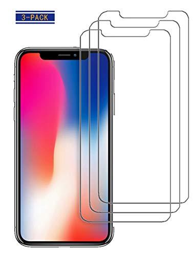 9HDClear Panzerglas Schutzfolie [3 Stück] für iPhone XS/iPhone X Displayschutzfolie Anti-Öl Glasfolie Härtegrad [5.8 Zoll]