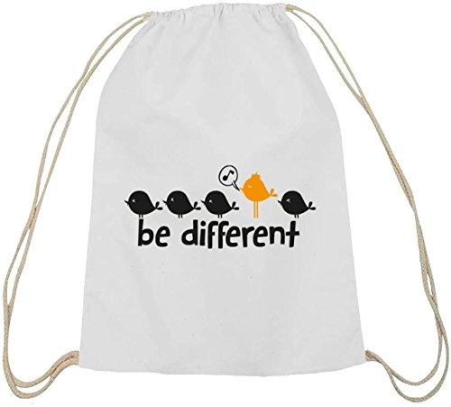 Shirtstreet24, Be Different, Baumwoll natur Turnbeutel Rucksack Sport Beutel weiß natur