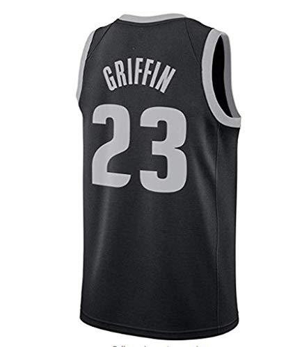 ar-Spieler Detroit Pistons Blake Griffin, Cooler atmungsaktiver Stoff, klassisch ärmellos, Herren- und Unisex-Basketball-Shorts, T-Shirt-Trikot (schwarz),S:170cm/50~65kg ()