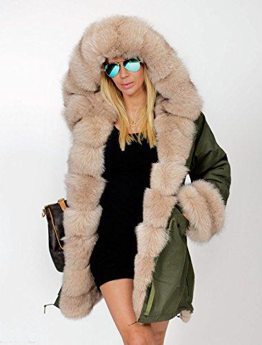 Roiii Women Winter Hoodies OverCoat Beige Thicken Faux Fur Parka Casual Luxury Coat Jacket (16/18, Black)