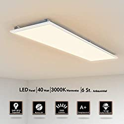 LED Panel Deckenleuchte 120x30cm Warmweiss 3000K Ultraslim 40W inkl. Trafo und Befestigungsmaterial für Gastronomie, Wartezimmer, Hotels, Außenbeleuchtung, Messehallen, Kindergärten