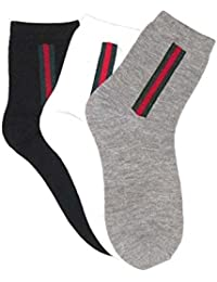 ASLAN Herren Socken mit Streifen- 3er - Pack, Füßlinge Sneakersocken