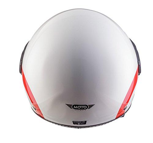 Moto Helmets H44 Italy · Retro Roller-Helm Vintage Mofa Jet-Helm Pilot Chopper Vespa-Helm Moto Helmetsrrad-Helm Scooter-Helm Biker Bobber Cruiser Helmet · ECE zertifiziert · inkl. Sonnenvisier · inkl. Stofftragetasche · Weiß · S (55-56cm) - 8