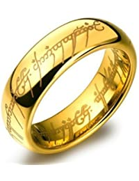 Happy GiftMart Lord of the rings 100% stainless steel 18K Gold Plated ring for Men / Women and boys