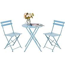 HollyHOME - Juego de Muebles de balcón Plegables de Acero al Aire Libre, 3 Piezas