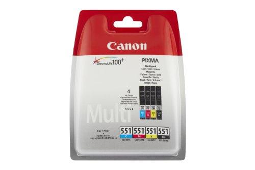 Canon cli-551 bk/c/m/y cartuccia originale getto d'inchiostro, 4 pezzi, nero, ciano, magenta e giallo