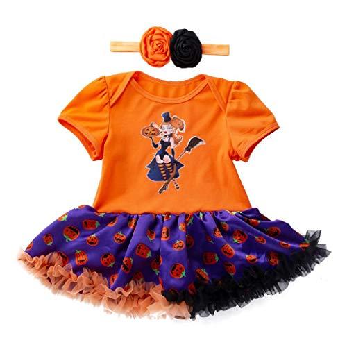 Hirolan Säugling Kleinkind Babykleidung Stirnband Festliche Babymode Mädchen Halloween Kürbis Bogen Taufbekleidung Party Kleid Bodys & Einteiler Blumenrock (59, Gelb)