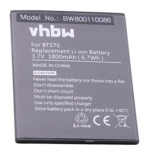 vhbw Li-Ion batería 1800mAh (3.7V) para Smartphone, teléfono móvil Zopo 6560, ZP780 por BT57s.