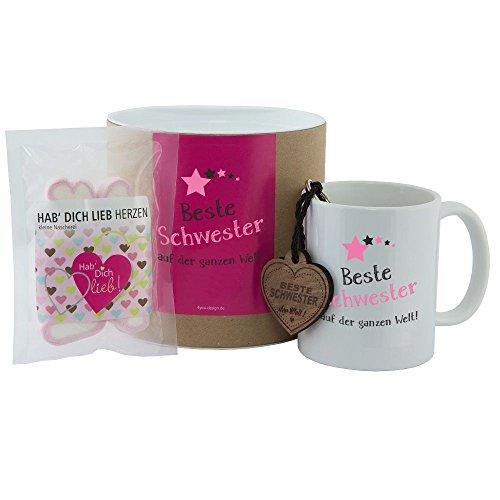 4you Design Geschenkset Beste Schwester auf der ganzen Welt (Tasse, Schlüsselanhänger & Hab Dich lieb Herzen) - Familie - Geburtstagsgeschenk - Kaffeebecher - Mädchen