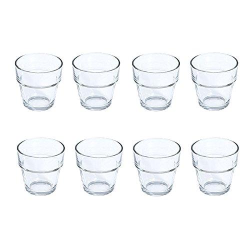 Teelichtglas POT - 8er Set - 6,5 cm - Klar - Teelichthalter - Dessertglas - Tischdeko für Hochzeit, Taufe, Geburtstag, Gartenparty, Jubiläum, Kommunion, Konfirmation