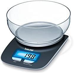 Beurer KS 25 Bilancia da Cucina Digitale con Portata 3 kg, Display LCD Retroilluminato, Funzione Tara e Contenitore Removibile da 1.2 l